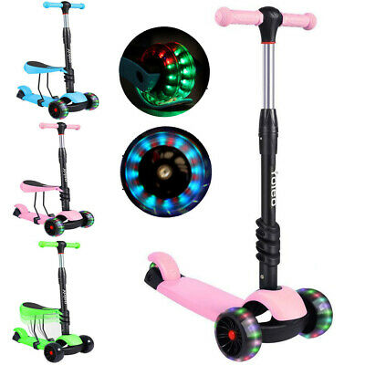 Kids Child Kick Push Scooter 3 Wheels LED Flashing Boys Girls Scooter With Seat • 23.58£