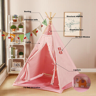 Large Teepee Canvas Children Indian Tent Kids Wigwam Indoor Outdoor Play House • 42.90£