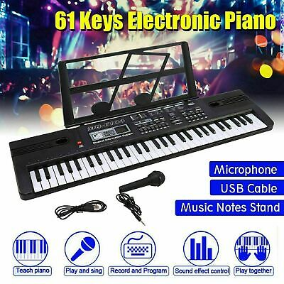 Black Electronic Keyboard Digital Piano Inc Microphone 61 Key Teaching Modes • 15.49£