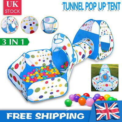 3 In1 Kids Play Tent Castle Toddler Tunnel Balls Pit Pop Up Cubby Playhouse UK • 15.59£