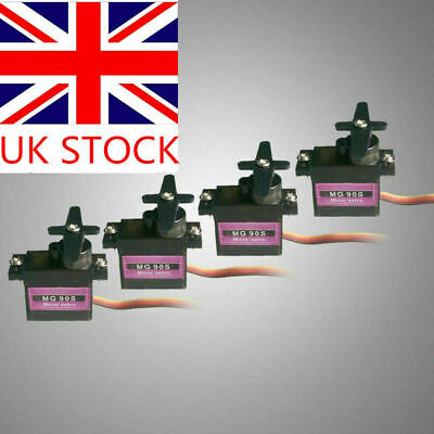 4x Metal Gear High Speed 9g Micro Servo Analog MG90S For RC Helicopter Plane UK • 11.69£