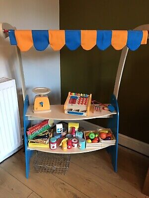 HAPE Wooden Toy Pretend Shop Stall. Till, Scales, Food, Fruit, Shopping Basket • 85£