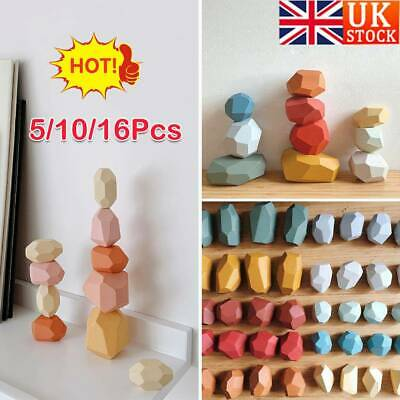 Baby Toy Creative Wooden Colored Stacking Balancing Stone Building Blocks UK • 11.69£