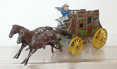 WW02 - Morestone ? Wild West Stagecoach Complete With Moving Horses Mechanism • 9.99£