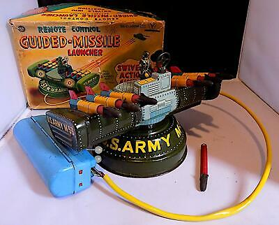 Vintage Tin Battery-Op Remote Control Guided Missile Launcher, Y Co. Japan. EXiB • 59£