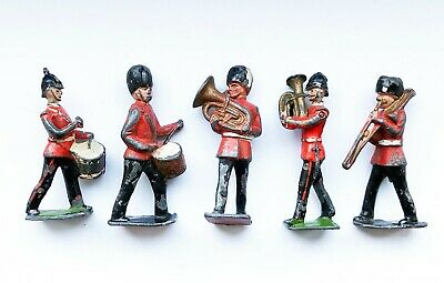5 ANTIQUE PAINTED LEAD SOLDIER MILITARY BANDSMEN TOY FIGURES 6cm High • 19£