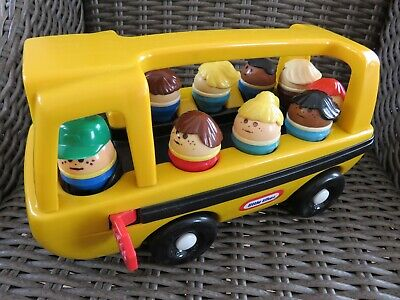 Vintage Little Tikes Yellow Push School Bus With 9 Tumble Tot Figures • 29.99£
