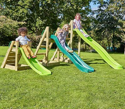 Rebo Free Standing Garden Wave Slide With Wooden Platform - 3 Sizes In 3 Colours • 149.95£
