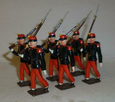GROUP OF 6 UNIDENTIFIED WHITE METAL FRENCH LEGIONNAIRES, - 54mm • 4.99£