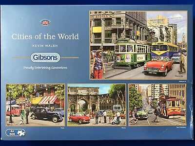 """Gibsons 4 X 500 Piece Jigsaw Puzzles """"Cities Of The World"""" • 9.99£"""