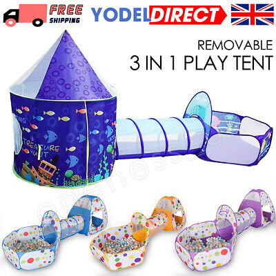 3 In 1 Kids Toddler Tunnel Pop Up Play Tent Indoor Outdoor Cubby Playhouse Gifts • 24.99£