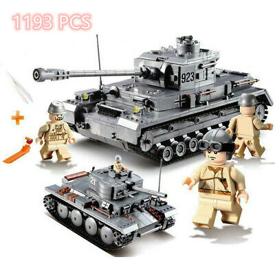 1193 Pcs Military Building Blocks WW2 Tiger King Tank Sets Figures Bricks Toys • 22.98£