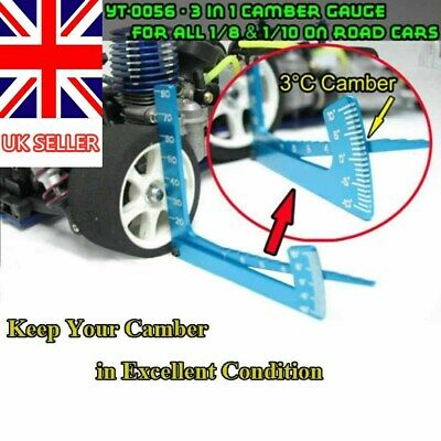 3 In 1 Camber Gauge For All 1:8 1:10 On Road Rc Car Truck UK STOCK • 2.99£