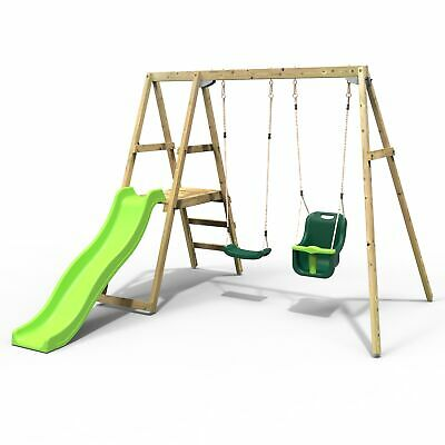 Rebo Active Kids Range Wooden Swing Set With Seat, Baby Seat And Slide – Green  • 269.95£
