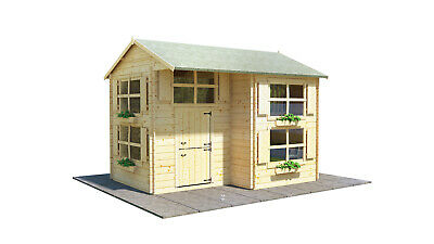 BillyOh Annex Log Cabin Wooden Playhouse. Childrens Outdoor Two Storey House. • 2,009£