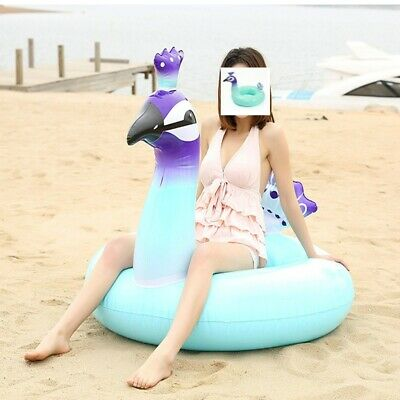 Giant Peacock Inflatable Swimming Ring Pool Float Kids Swimming Beach Raft Adult • 5.39£