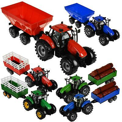 Kids Childrens Kids Farm Tractor Trailer Large 43cm Set Toy Farm Play Assorted • 9.97£