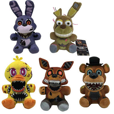 5PCS 7 FNAF Toys Horror Game Scary Fangs Chica Foxy Bonnie Plush Doll Kids Gift • 22.99£