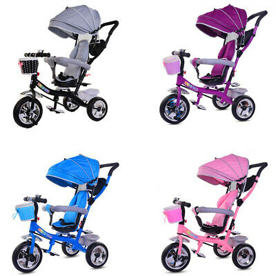 Smart Baby Kids Ride On Trike Tricycle 4 In 1 Bike 3 Wheels Canopy • 69.90£