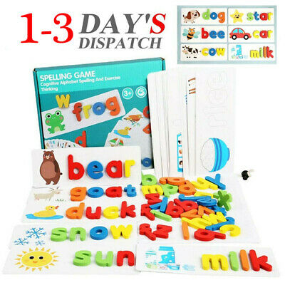 Early Education English Spelling Toy Wooden Cardboard Alphabet Game Educational • 8.79£