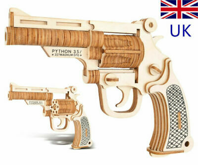 Wooden Gun 3D Puzzle Toy Revolver Model Assembly Gift For Kids Boy Teens • 6.89£