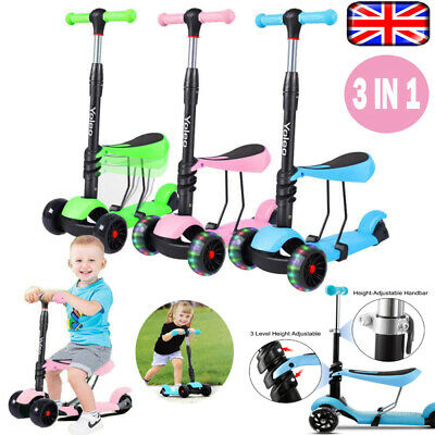Kids 3 In1 Mini Kick Wheel Push Scooter Flashing LED Wheels With Removable Seat • 22.58£