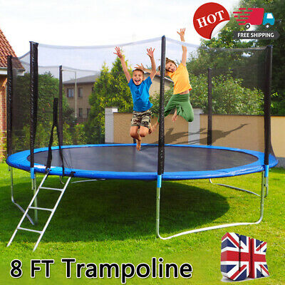 8FT Heavy Duty Trampoline Safety Net Enclosure Spring Cover Padding Ladder Kids • 126.99£