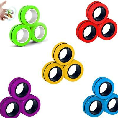 Magnetic Magic Finger Rings Fingears Fidget Spinner Stress Relief Toys Props • 2.49£