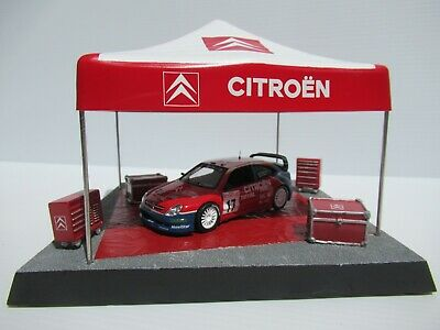 CITROEN RALLY SERVICE AREA TENT, 1:43 Scale, C. McRAE CAR, TOOL CHESTS DIORAMA • 36.90£