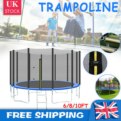 6FT 8FT 10FT Trampoline With Enclosure Safety Net Spring Cover Ladder Heavy Duty • 129.29£