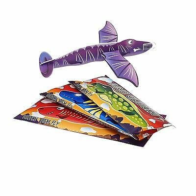 Pack Of 12 Dinosaur Flying Plane Gliders Kids Party Bag Fillers Childrens Toys • 1.36£