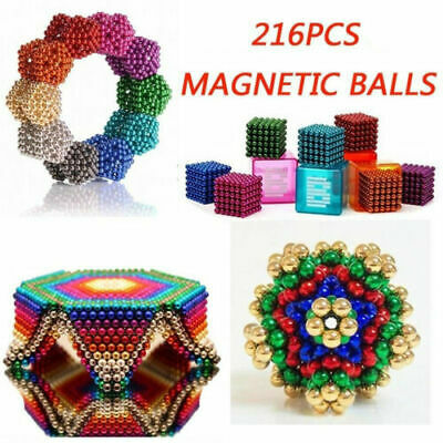 216, 3mm 5mm Magnetic Magic Beads 3D Puzzle Ball Magnetic Sphere -Adults • 5.99£
