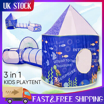 Kids Play Tent 3 In 1 Portable Children Tunnel Ball Pit Playhouse Pop Up UK • 21.59£