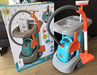 SMOBY Toy Pretend Cleaning Trolley, Vacuum Cleaner (Sounds), Brush &Dustpan.Box • 20£