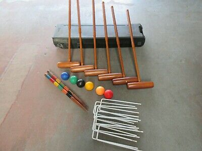 Adult 6 Player Croquet Set In Wheeled Plastic Case (E/09/MJE) • 25£