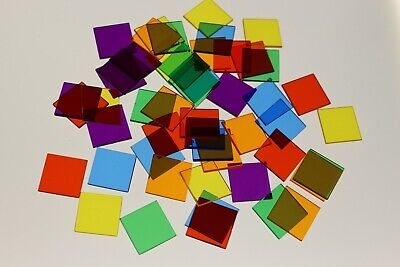 50 X ASSORTED SQUARE TRANSPARENT COLOUR PLASTIC COUNTER CHIPS - FREE UK POST • 3.49£