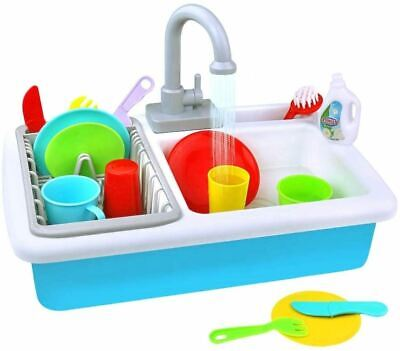 Kids Toy Sink Wash-Up Kitchen Sink With Running Water Pretend Play Role Play • 11.99£