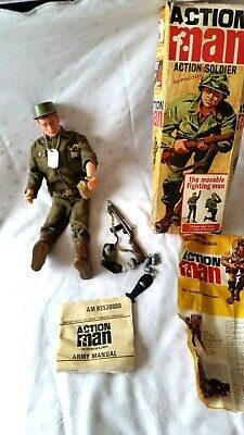 1960's Action Man Figure With Painted Head, Medals & All Accessories In Box • 23£