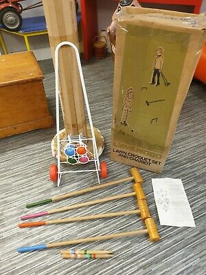 VINTAGE BOXED LYMEWOOD LAWN CROQUET SET & CHARIOT 4 PERSON 1970,s NICE EXAMPLE • 69.50£