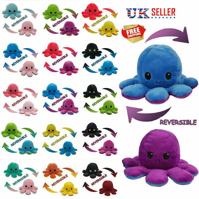 Reversible Octopus Plush Toys Double-sided Flip Octopus Happy Sad Doll Kids Gift • 4.98£