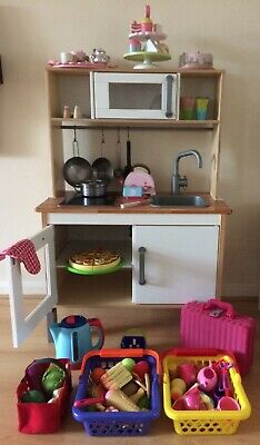 Wooden Play Kitchen, Ikea, With Lots Of Accessories, Working Hob And Kettle • 110£