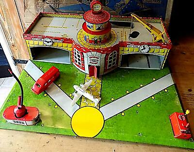 Vintage Large Tinplate Superior Airport Building Wt Accessories, Mettoy, GB.  AF • 13.21£