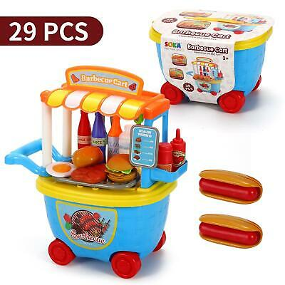 SOKA® 29 Pcs BBQ Barbeque Trolley Shop Cart Food Play Toy Set For Kids Children • 11.99£