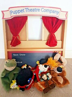 ELC Wooden Folding Toy Puppet Theatre & Hand Finger Puppets  • 16£