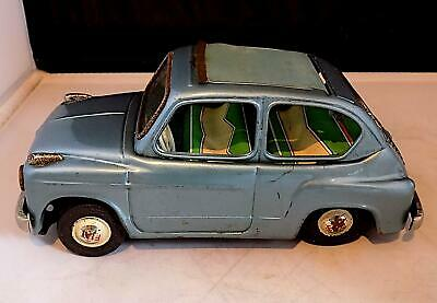 Vintage Tinplate Friction Drive Fiat 600 Car, Bandai, Made In Japan. • 43£