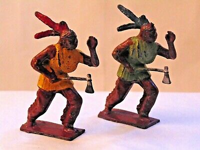 Quality  John  Hill  Lead  Original Two  Indians  With  Tomahawks     1950,s • 5.50£