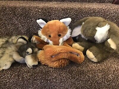 Three Gorgeous Animal Hand Puppets..bunny & Foxes • 11.99£