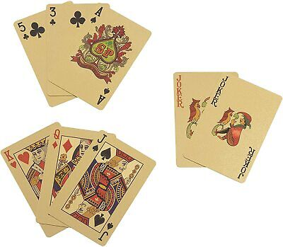 24k Dollar Gold Plated Waterproof Playing Cards Game Full Poker Deck 99.9% Pure • 3.20£