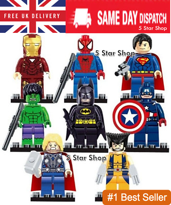 8 Pcs Marvel Avengers Super Hero Comic Mini Figures DC Minifigure Gift Fits Lego • 8.95£