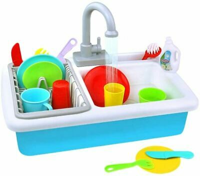 Kids Toy Sink Wash-Up Kitchen Sink With Running Water Pretend Play Role Play • 13.99£